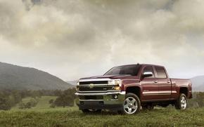 Картинка пейзаж, Chevrolet, пикап, silverado