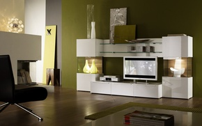 Картинка дизайн, дом, стиль, интерьер, жилая комната, living room with green decor