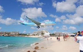 Обои фото, Maho Beach, St Maarten, самолёт, пляж