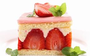 Картинка клубника, пирожное, мята, десерт, сладкое
