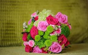Картинка зелень, цветы, розы, букет, розовые