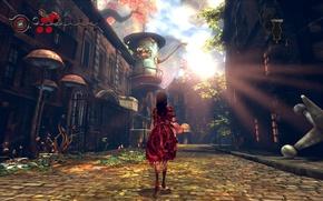 Картинка кровь, грибы, дома, растения, причудливость, Alice: Madness Returns