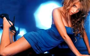 Картинка sexy, dress, legs, woman, blue