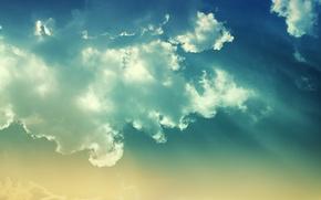 Картинка небо, облака, лучи