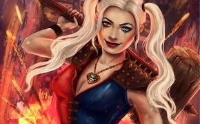 Обои злодейка, Harley Quinn, девушка, взгляд, арт
