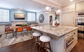 Картинка стол, мебель, стулья, телевизор, кухня, коттедж, Design, Interior, Kitchen