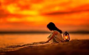 Картинка закат, лампа, девочка, My Early Morning
