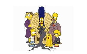 Картинка Halloween, minimalism, cartoon, crossover, fun, fear, holiday, The Simpsons, Homer Simpson, spooky, parody, Bart Simpson, …