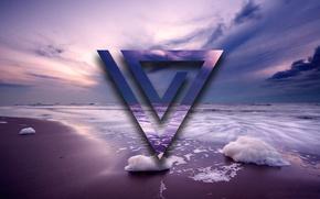 Картинка вода, абстракция, волна, треугольник, фиолетовый пляж