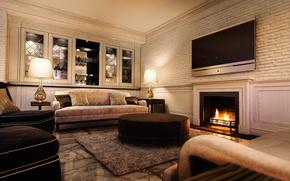 Картинка мебель, интерьер, телевизор, камин, мягкая, гостинная
