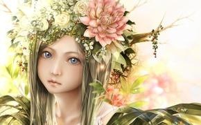 Картинка девушка, капли, цветы, лицо, ветви, аниме, арт, bouno satoshi