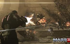 "Картинка взрывы, бой, перестрелка, Шепард, Mass Effect 3, Shepard, Цербер, винтовка ""Защитник"", Штурмовики"