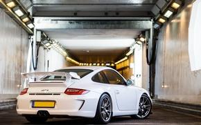 Картинка белый, 911, 997, Porsche, тоннель, white, порше, gt3, tunnel, back
