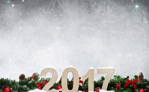 Картинка Новый Год, Ветки, Шарики, Шишки, Праздники, Шаблон, 2017