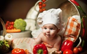 Картинка дети, малыш, лежит, подушка, кастрюля, овощи, ребёнок, Анна Леванкова, поварёнок
