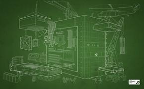 Обои NVIDIA, DIY Blueprint Wallpaper, GeForce, GTX