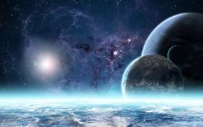 Обои планеты, звезды, туманность, атмосфера
