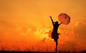 Картинка девушка, зонтик, настроение, после дождя