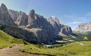 Обои долина, скалы, лето, Val Gardena, деревья, панорама, Доломиты, дорога, горы, Италия, Валь Гардена, Альпы, солнечно