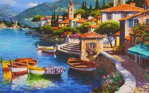 Картинка море, город, картина, живопись, painting, Адриатика, Pier Shore