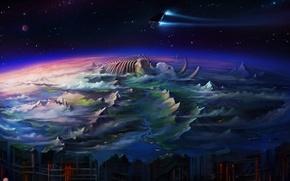 Картинка горы, корабль, звёзды, арт, скелет, хребет