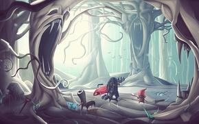 Картинка деревья, чудики, desktopography, арт, лес