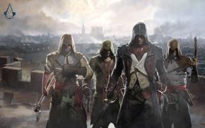 Картинка пистолет, меч, топор, art, ассасины, Assassin's Creed: Unity