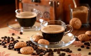 Обои кофе, печенье, чашка, еда, кофейные зерна, блюдце