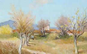 Картинка деревья, пейзаж, горы, картина, весна, Марсель Диф, An Orchard in Spring
