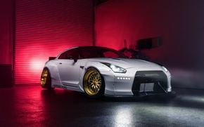 Картинка Imperial, Light, Nissan, GT-R, Front, White, Garage, Works