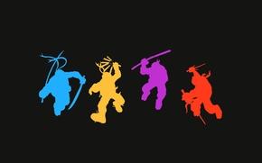 Картинка силуэты, Рафаэль, TMNT, Raphael, Leonardo, Donatello, Донателло, Леонардо, Микеланджело, Teenage Mutant Ninja Turtles, Michelangelo, Черепашки …