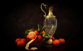 Картинка листья, натюрморт, кожура, мандарины, графин