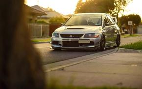 Картинка Mitsubishi, Lancer, Car, Grass, Front, Sun, Stance, Evo IX, Evolution 9, Ligth