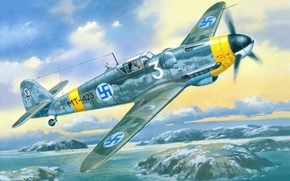 Картинка небо, война, истребитель, Арт, Messerschmitt, немецкий, поршневой, одномоторный, Bf.109, G-6, профашистские, Финские ВВС