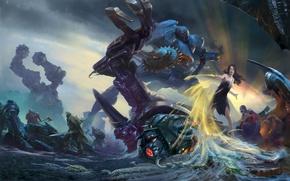 Картинка девушка, насекомые, оружие, Роботы, бой, воины, смесь жанров