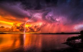 Картинка закат, молнии, Psychadelic Lightning