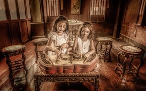 Обои музыка, девочки, инструмент