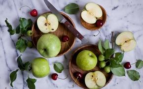 Обои ягоды, натюрморт, нож, листочки, яблоки, черешня