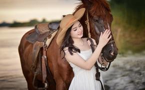 Картинка улыбка, конь, лошадь, шляпа, азиатка