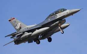 Картинка истребитель, полёт, Fighting Falcon, «Файтинг Фалкон», F-16D