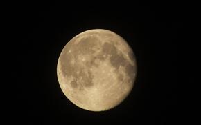 Картинка космос, ночь, Луна, universe, Moon, жёлтая луна