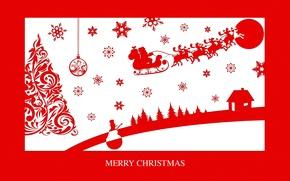Картинка дорога, лес, снежинки, праздник, луна, новый год, рождество, домик, снеговик, ёлка, сани, олени, Merry Christmas, ...