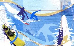 Картинка зима, снег, абстракция, обои, сноуборд, спуск, елка, скорость, ель, вектор, силуэт, доска, snowboard