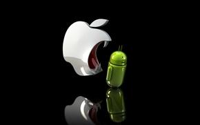 Картинка apple, клыки, android, ios, злое яблоко