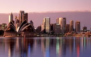 Картинка небо, вода, город, Австралия, Сидней