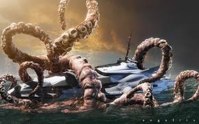 Обои осьминог, гигант, лодка, катер, the new nautilus