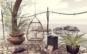 Картинка океан, подушки, терраса, висячее кресло