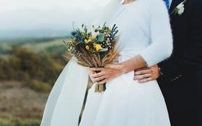 Картинка букет, руки, платье, невеста, жених, свадебный