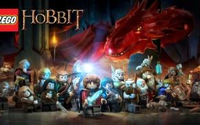 Обои золото, огонь, дракон, игрушки, лук, лого, Смог, посох, logo, мечи, Гендальф, лего, волшебник, Gandalf, Legolas, ...
