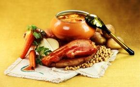 Картинка лук, горох, ложка, мясо, морковь, горшочек, картофель, рагу